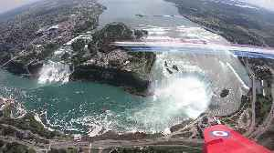 Red Arrows flypast over Niagara Falls