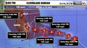 Hurricane Dorian's winds grow to 115 mph, now a Category 3 storm, expected to hit Florida Tuesday as Category 4 [Video]