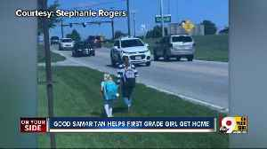 Student sees first grader walking home alone, tells mom: 'Stop the car. I'm going to walk with her.' [Video]