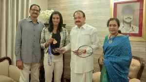 Venkaiah Naidu meets PV Sindhu after her World Championship gold [Video]