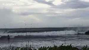 Florida surfers hit the waves as Hurricane Dorian brings large swells [Video]