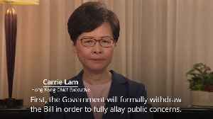 Hong Kong leader announces withdrawal of extradition bill [Video]