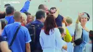 News video: Emotional scenes as Ukraine president welcomes home freed prisoners