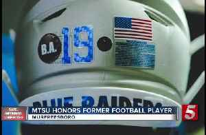 MTSU honors former football player with decal, team number [Video]