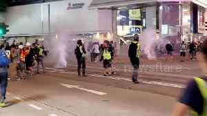 News video: Hong Kong police fire tear gas in busy shopping district