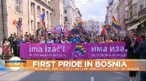 Bosnians hold first gay pride parade amid strong police protection [Video]