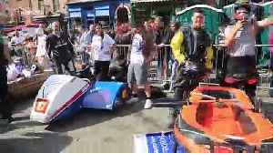 Over 60 teams compete in UK town's first ever soapbox race [Video]