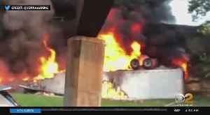 Tractor-Trailer Fire On NJ Turnpike In Carteret [Video]