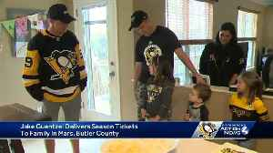Jake Guentzel delivers season tickets to Penguins fans at their home [Video]