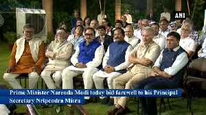 PM Modi bids farewell to Principal Secretary Nripendra Bisra [Video]