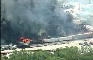 Flames, black smoke engulf derailed train in Illinois [Video]