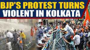 BJP workers protest in kolkata, police use water cannons to disperse them | Oneindia News [Video]