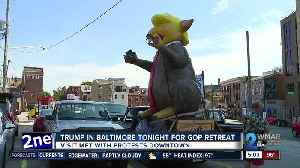 Inflatable Trump Rat waiting for the President's arrival [Video]