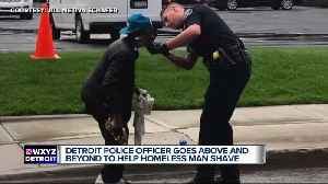 Detroit police officer offers homeless man a shave [Video]