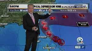 Meteorologist Steve Weagle has the 5 p.m. advisory for TD Nine [Video]