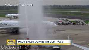 Coffee spill causes unexpected landing [Video]