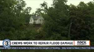 Crews work to repair flood damage [Video]
