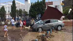 News video: Torrential rains bring chaos to Spanish seaside town