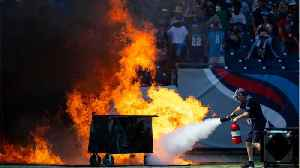 News video: Fire Erupts On Tennessee Titans Field: Pyrotechnics Device Malfunction