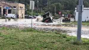 Web Extra: Water Main Break Floods Hays Roads [Video]