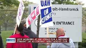News video: UAW workers at GM strike for second straight day as contract negotiations loom