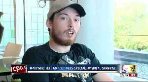 Man who fell 60 feet gets special hospital surprise [Video]