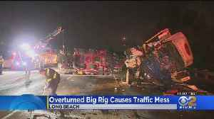 Big Rig Carrying Carnival Ride Overturns, Shutting Down Southbound 605 In Long Beach [Video]