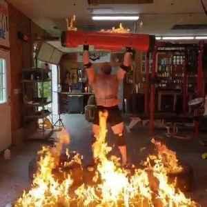 Bodybuilder Sets Log Barbells on Fire Before Powerlifting [Video]