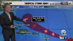 5 p.m. updated on Tropical Storm Jerry [Video]
