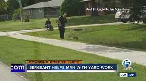 Port St. Lucie police officer helps man in wheelchair mow lawn [Video]