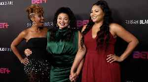 Ryan Michelle Bathe, Michelle Buteau, Tracy Oliver 'First Wives Club' BET+ Launch Party Red Carpet [Video]