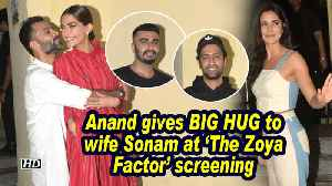 Anand Ahuja gives BIG HUG to wife Sonam at 'The Zoya Factor' screening [Video]