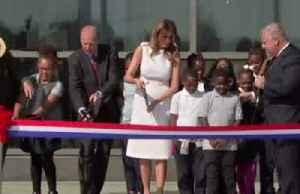 Scissors snafu: Melania's Washington Monument ribbon cutting [Video]