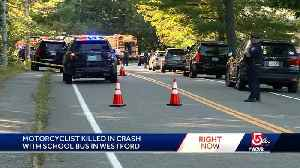 Motorcyclist killed in crash with school bus [Video]