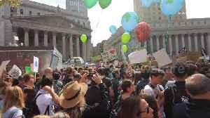 New York City's Climate Strike features massive crowds, the mayor and Greta Thunberg gather during [Video]