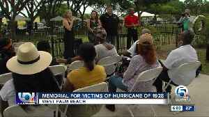 Memorial held for victims of the hurricane of 1928 [Video]