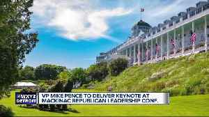 Vice President Mike Pence speaking at Mackinac Island's Grand Hotel for Republican Leadership Conference [Video]