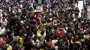 Hong Kong protesters trample and burn Chinese flag [Video]