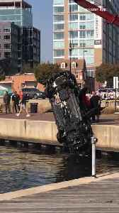 Woman dies after driving car into water in Fells Point early Sunday [Video]
