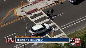 Bicyclists ride in honor of woman hit, killed while biking in cross walk [Video]