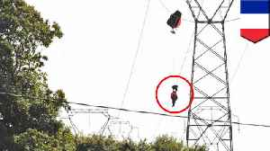 Belgian pilot dangles from power line as F-16 jet crashes in France [Video]