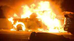 Pick-up truck engulfed with flames after accident on Los Angeles highway [Video]