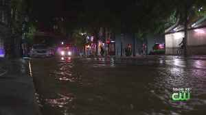 News video: Water Main Break Floods Road In University City