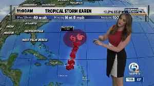 Karen strengthens back into tropical storm [Video]
