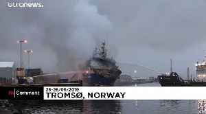Russian trawler carrying 200,000 litres of diesel bursts into flames in a Norwegian port [Video]