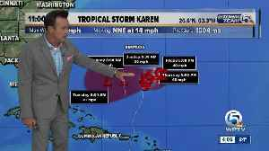 Tropical Storm Karen slightly stronger but forecast to become a remnant low in a few days [Video]