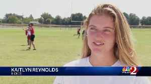 Female football player brings home win with overtime field goal [Video]