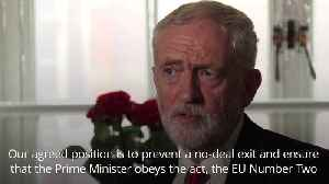News video: Corbyn: Opposition parties will work to force PM to obey Benn Act