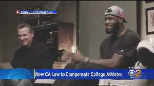 Calif. Governor Signs Bill Allowing College Athletes To Get Paid As LeBron James Looks On [Video]