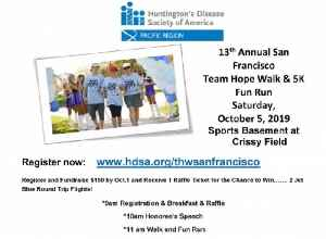 Join The 13th Annual SF Team Hope Walk & 5K Fun Run Benefiting Huntington's Disease [Video]